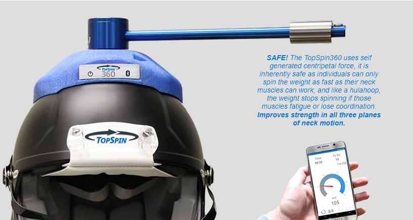A TopSpin360 training device and its accompanying application. Text describing TopSpin360's inherent safety due to its use of self generated forces